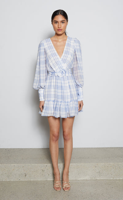 ALEXA L/S MINI DRESS - BLUE CHECK