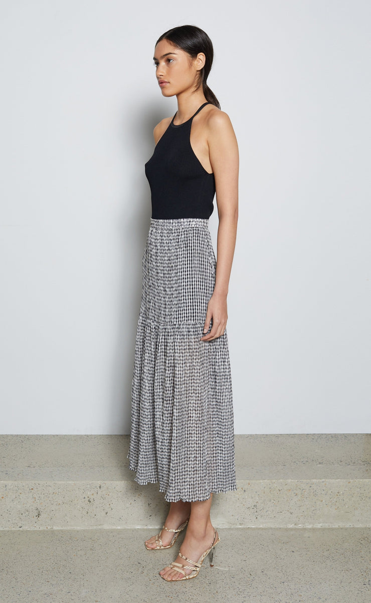 NADINE MIDI SKIRT - CHECK