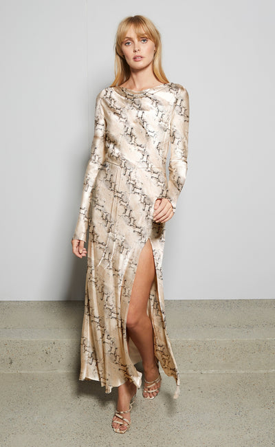PYTHON LONG SLEEVE DRESS - SNAKE SKIN PRINT