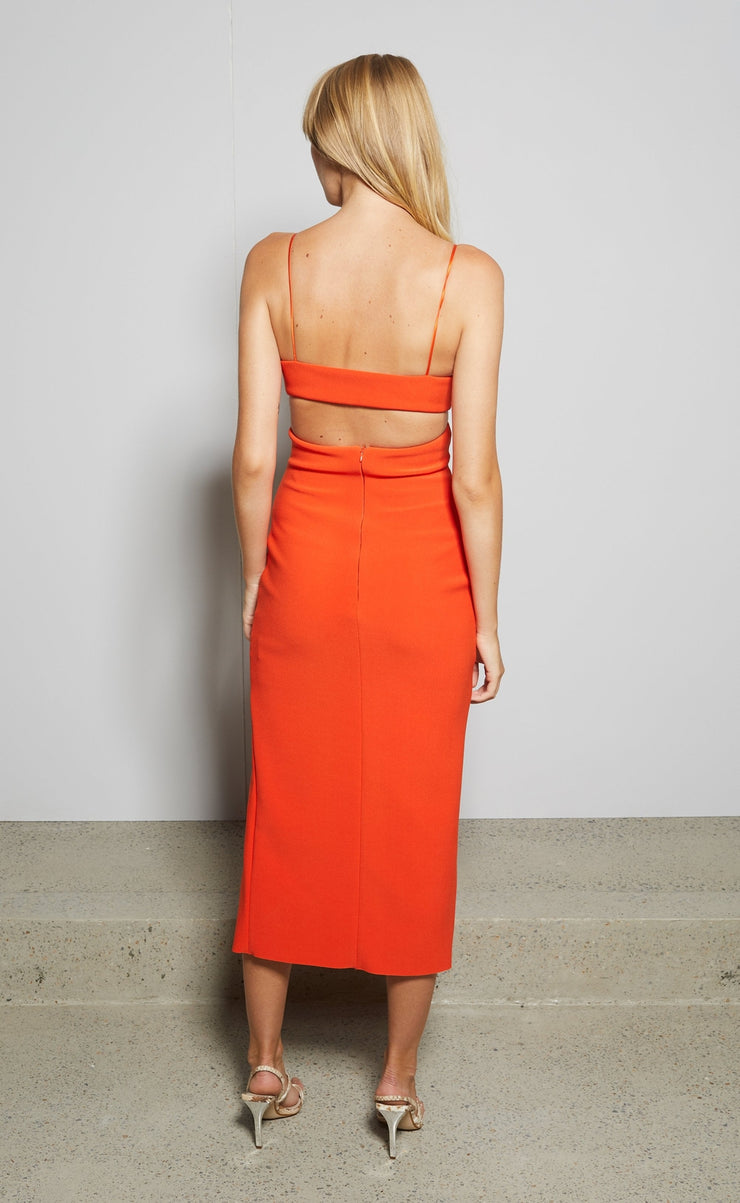 ULLA MOUTH MIDI DRESS - BLOOD ORANGE