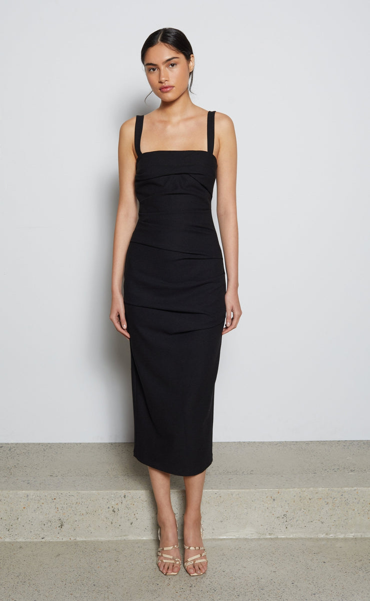SADIE TUCK MIDI DRESS - BLACK