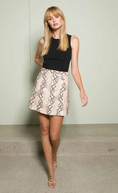 FRANCO MINI SKIRT - SNAKE SKIN PRINT