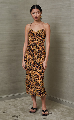 LIONS DEN SILK MIDI DRESS - PRINT