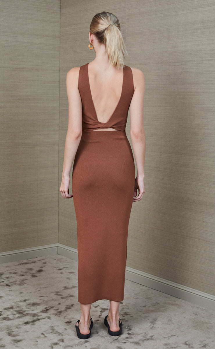 SORBET SUMMER MIDI DRESS - CHOCOLATE