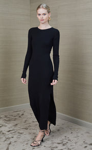 FREYA LONG SLEEVE KNIT MIDI DRESS - BLACK