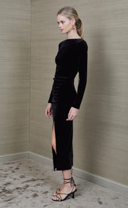 MIDNIGHT SOIREE LONG SLEEVE MIDI DRESS - BLACK