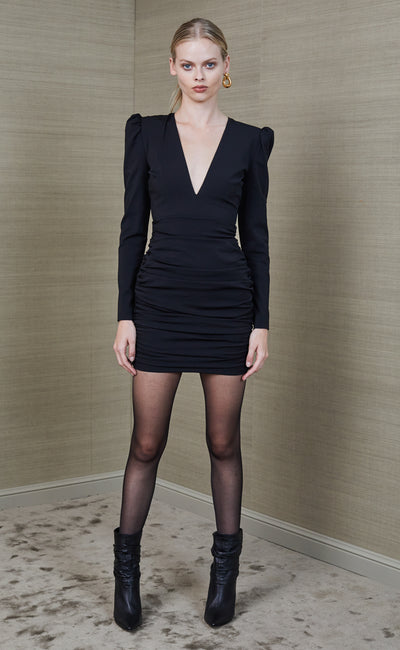 TOTAL ECLIPSE LONG SLEEVE MINI DRESS - BLACK
