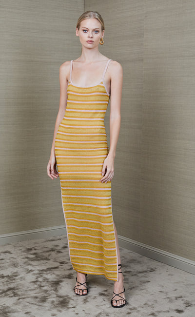 STARLIGHT MIDI DRESS - LUREX STRIPE