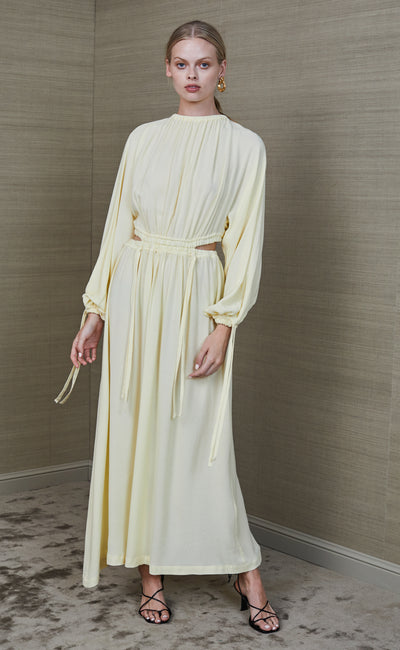 MALA LONG SLEEVE MIDI DRESS - BUTTER