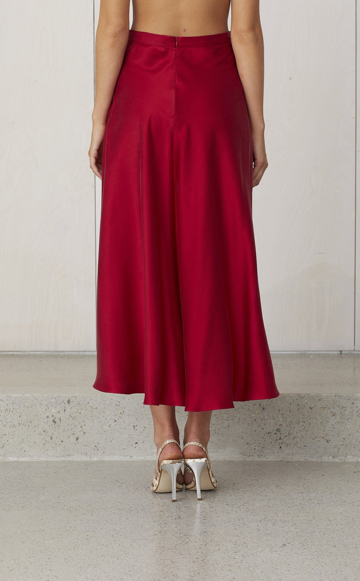 CLASSIC CIRCLE SKIRT - CRIMSON