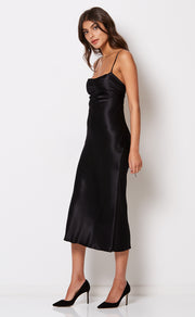 KAIA COWL DRESS - BLACK