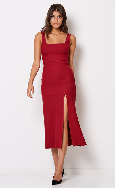 SCHIFFER MIDI DRESS - ROUGE