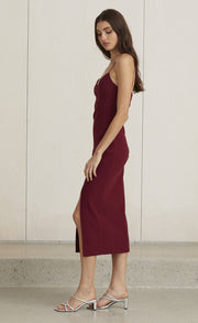 LEA SPLIT MIDI DRESS - BURGUNDY