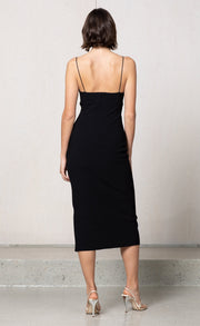 LEA SPLIT MIDI DRESS - BLACK
