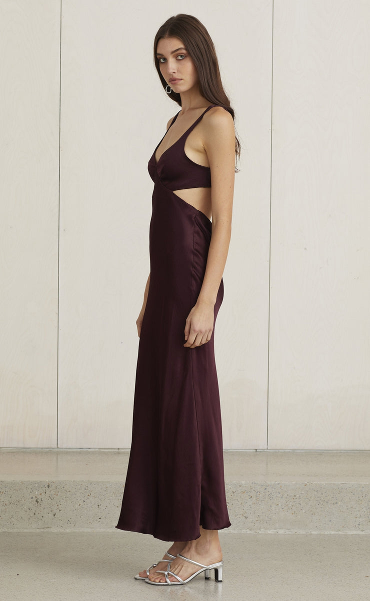 CAROLINE CUT OUT DRESS - PLUM