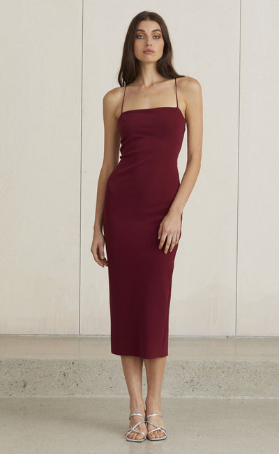 5de659a58227 LEA LACE UP MIDI DRESS - BURGUNDY
