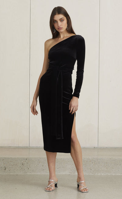 VELOURS ONE SHOULDER DRESS - BLACK