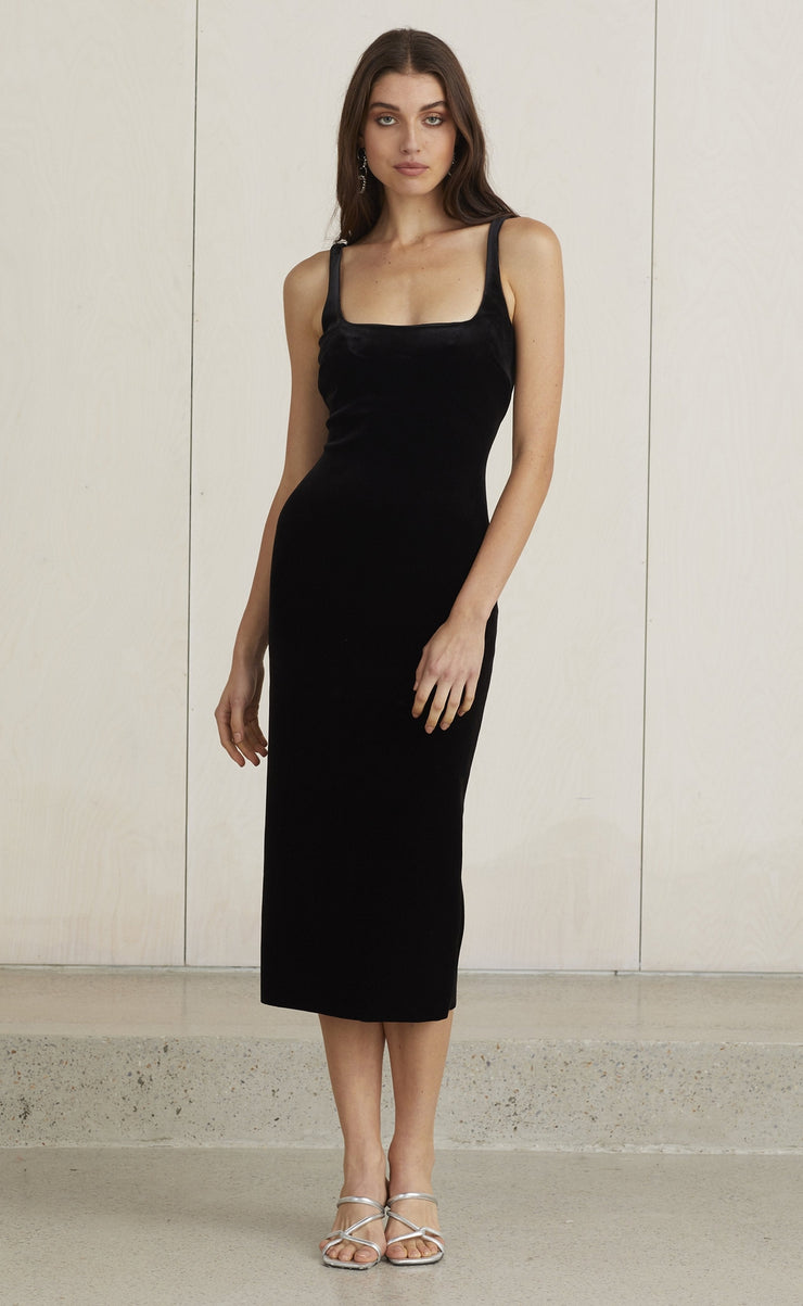 VELOURS MIDI DRESS - BLACK