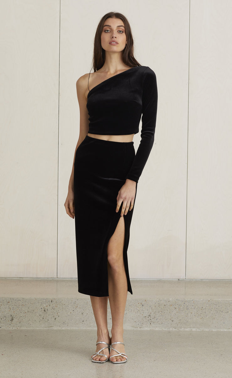 VELOURS MIDI SKIRT - BLACK