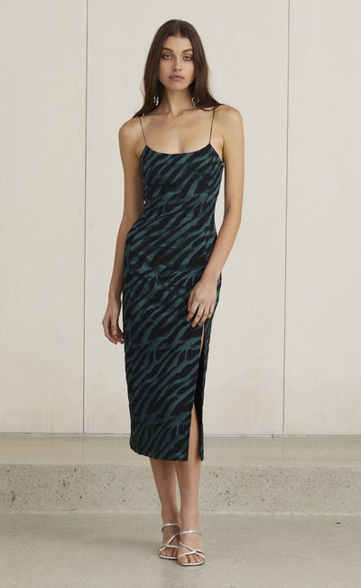 DISCOTHEQUE MIDI DRESS - EMERALD ZEBRA