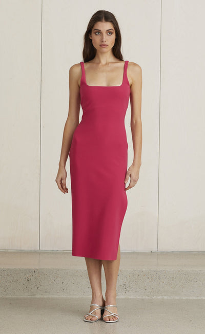 VALENTINE MIDI DRESS - HOT PINK