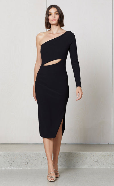 VALENTINE ASYM MIDI DRESS - BLACK