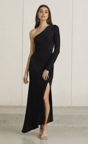 THE KAT ASYM MIDI DRESS - BLACK