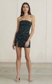 DISCOTHEQUE MINI DRESS - EMERALD ZEBRA
