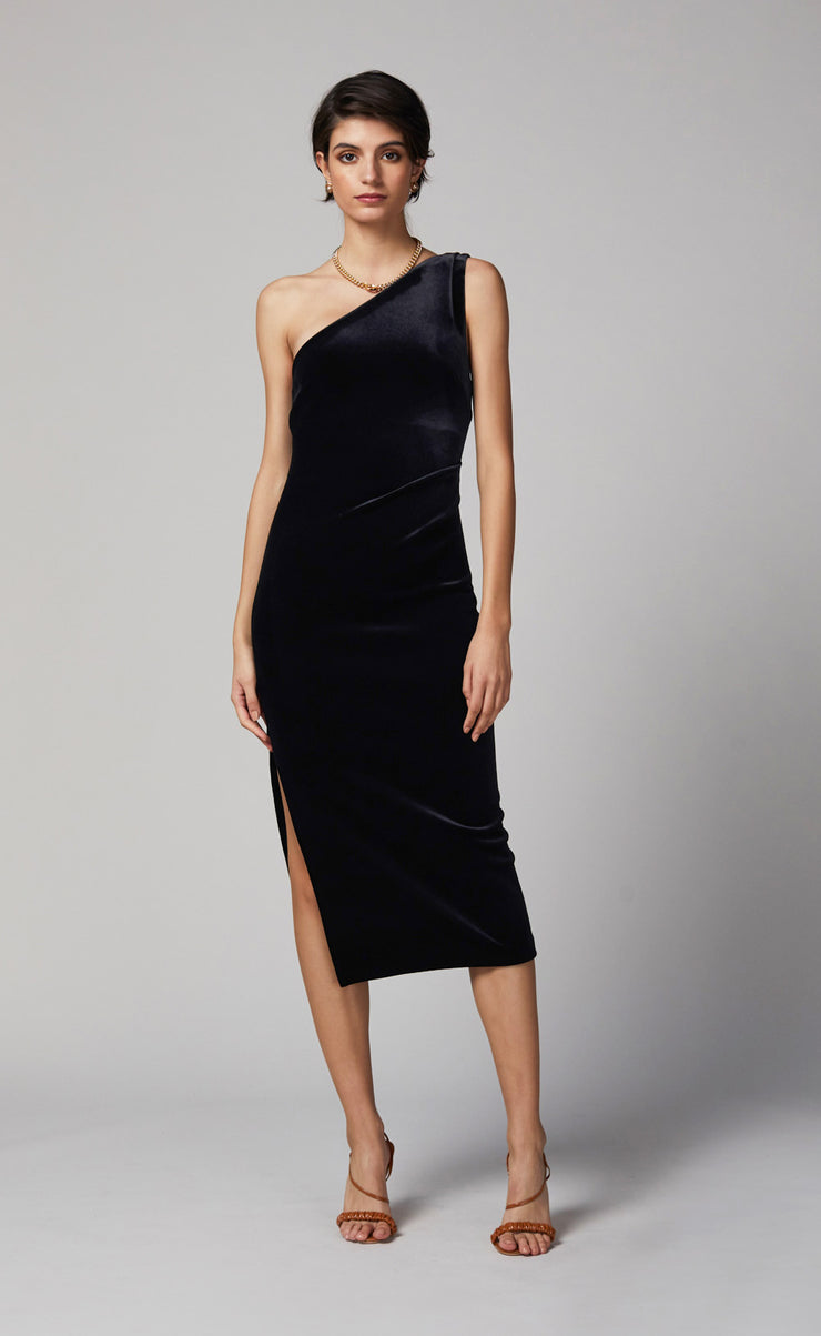 OLIVIANE ASYM MIDI DRESS - BLACK