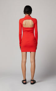 CHICHI LONG SLEEVE KNIT MINI DRESS - CHILLI