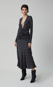 PARADIS LONG SLEEVE MIDI DRESS - PRINT