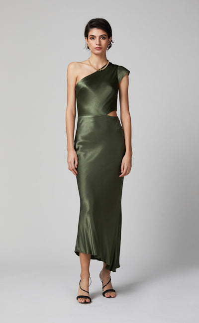 DELPHINE ASYM MIDI DRESS - FERN