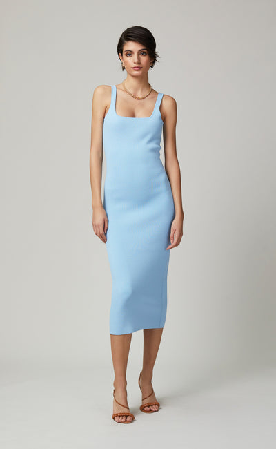 EMELINE KNIT MIDI DRESS - SKY BLUE