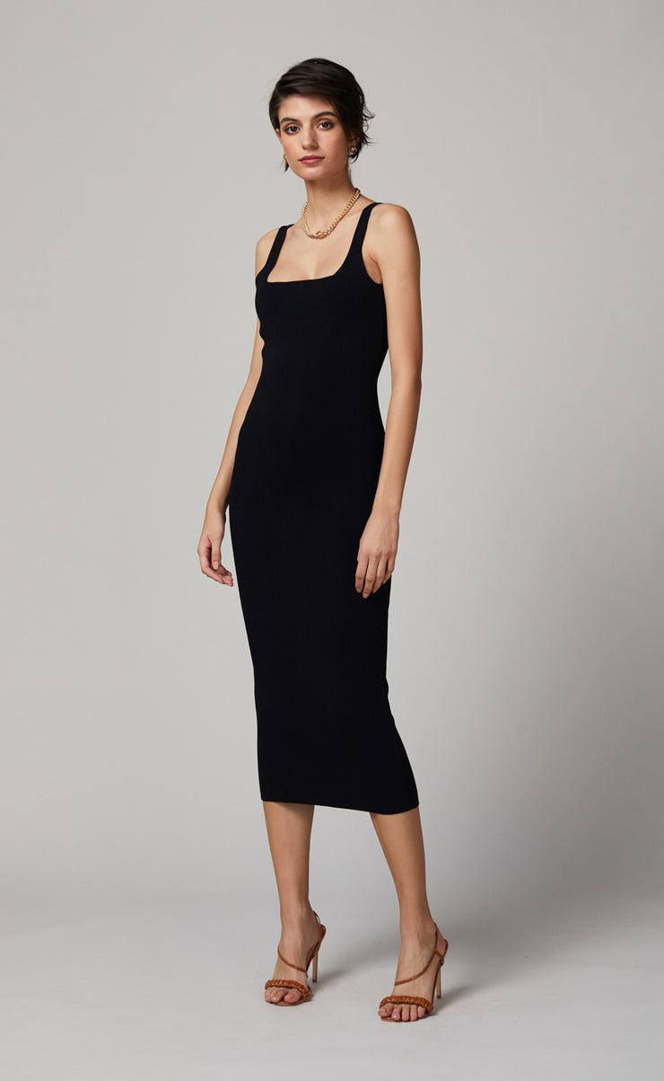 EMELINE KNIT MIDI DRESS - BLACK