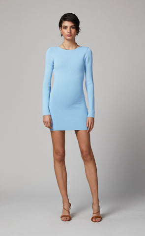EMELINE KNIT MINI DRESS - SKY BLUE