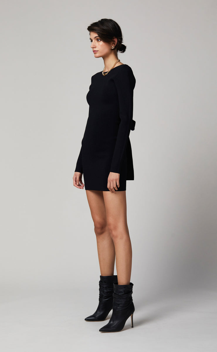 EMELINE KNIT MINI DRESS - BLACK