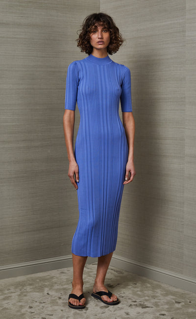 ESME KNIT MIDI DRESS - CORNFLOWER