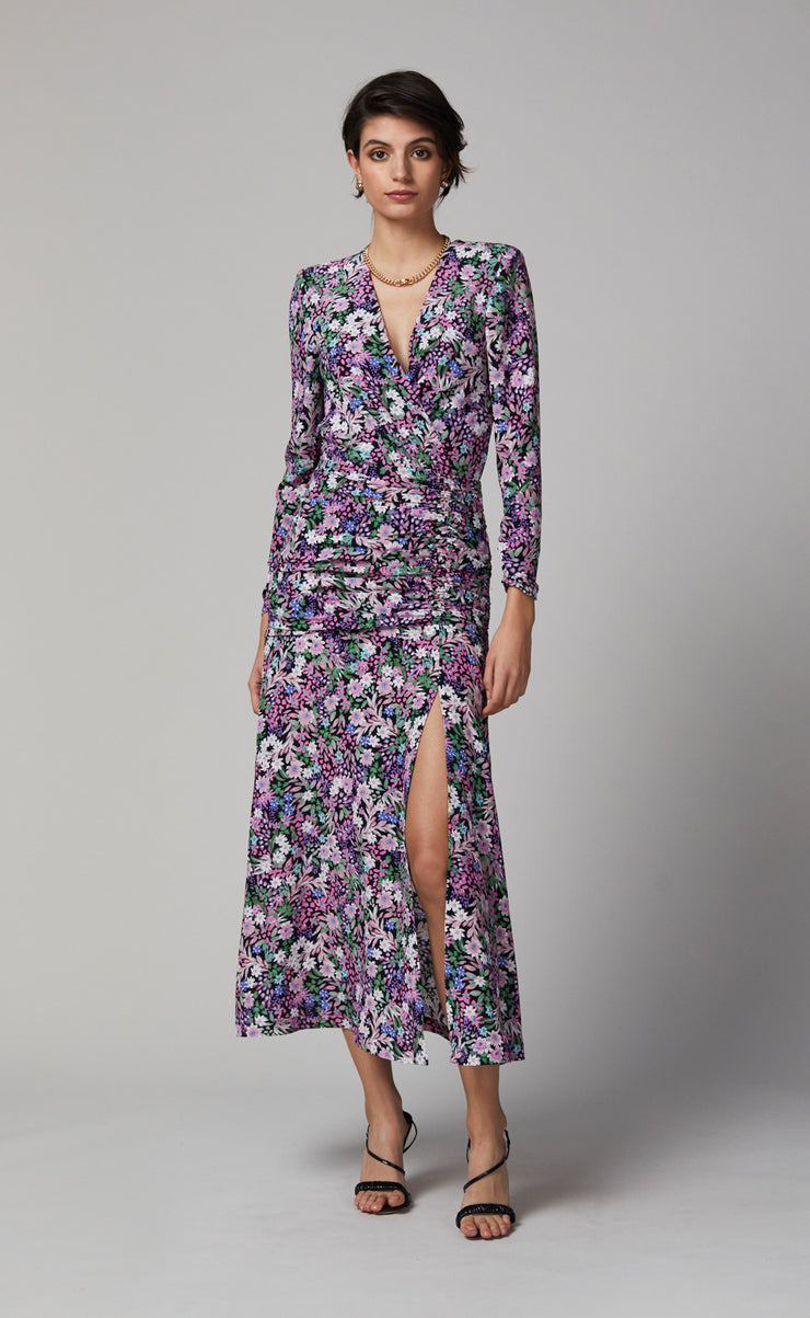 ANAIS LONG SLEEVE MIDI DRESS - PRINT