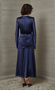 MIREILLE LONG SLEEVE MIDI DRESS - MIDNIGHT