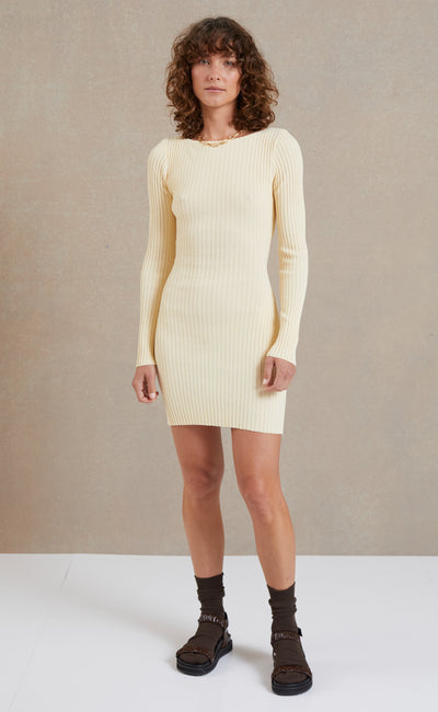 LYLA KNIT LONG SLEEVE MINI DRESS - BUTTER