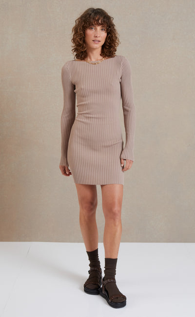 LYLA KNIT LONG SLEEVE MINI DRESS - FAWN