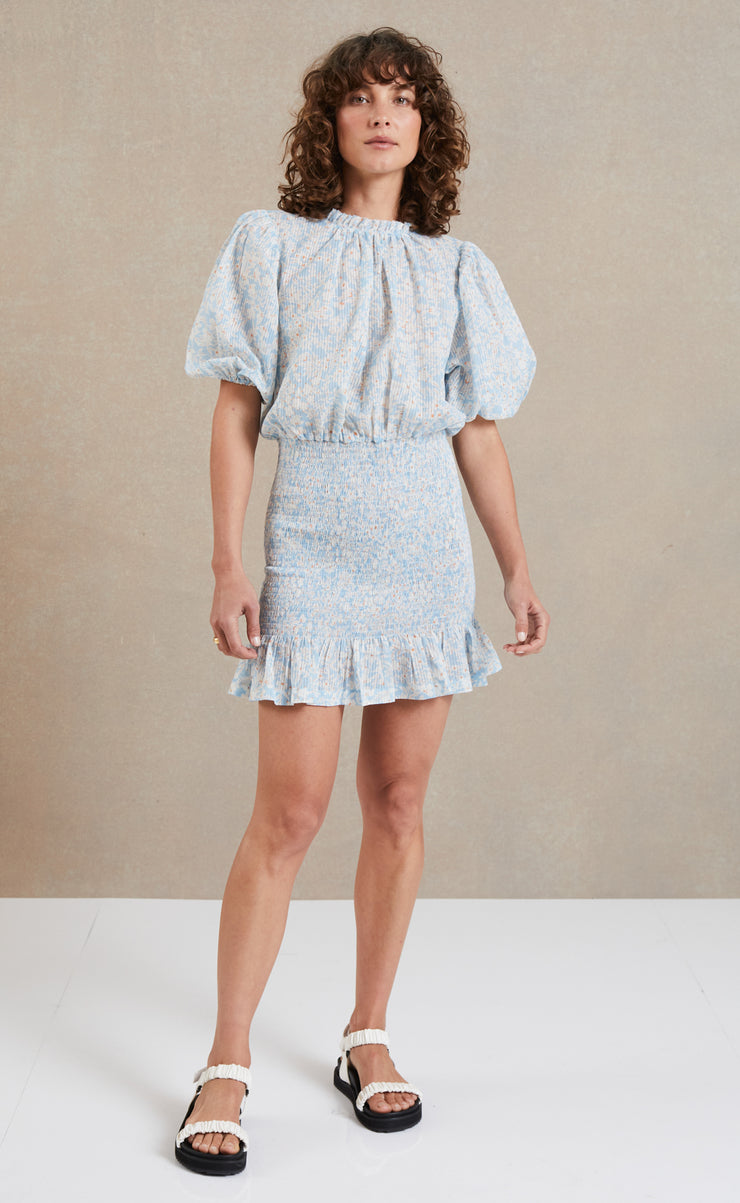 PASQUALINA SHORT SLEEVE MINI DRESS - PRINT