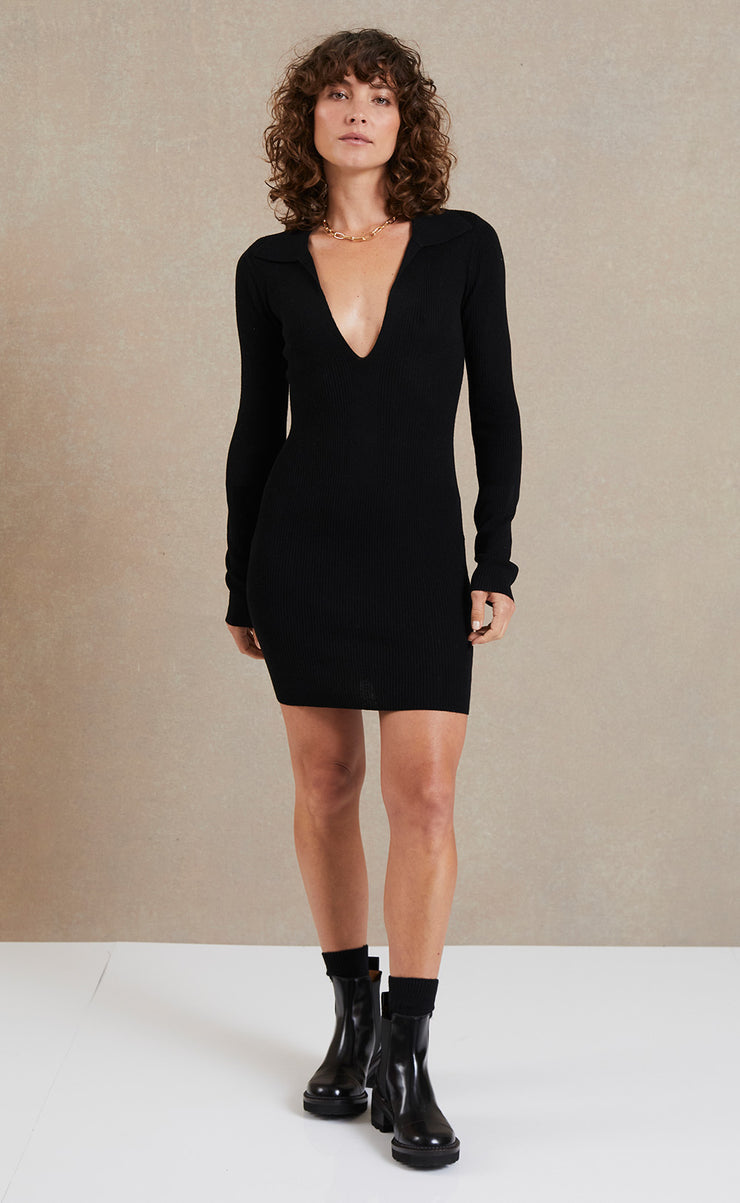 FREYA LONG SLEEVE KNIT POLO DRESS - BLACK