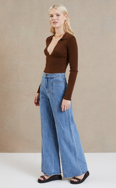 CLEO WIDE LEG JEAN - DENIM