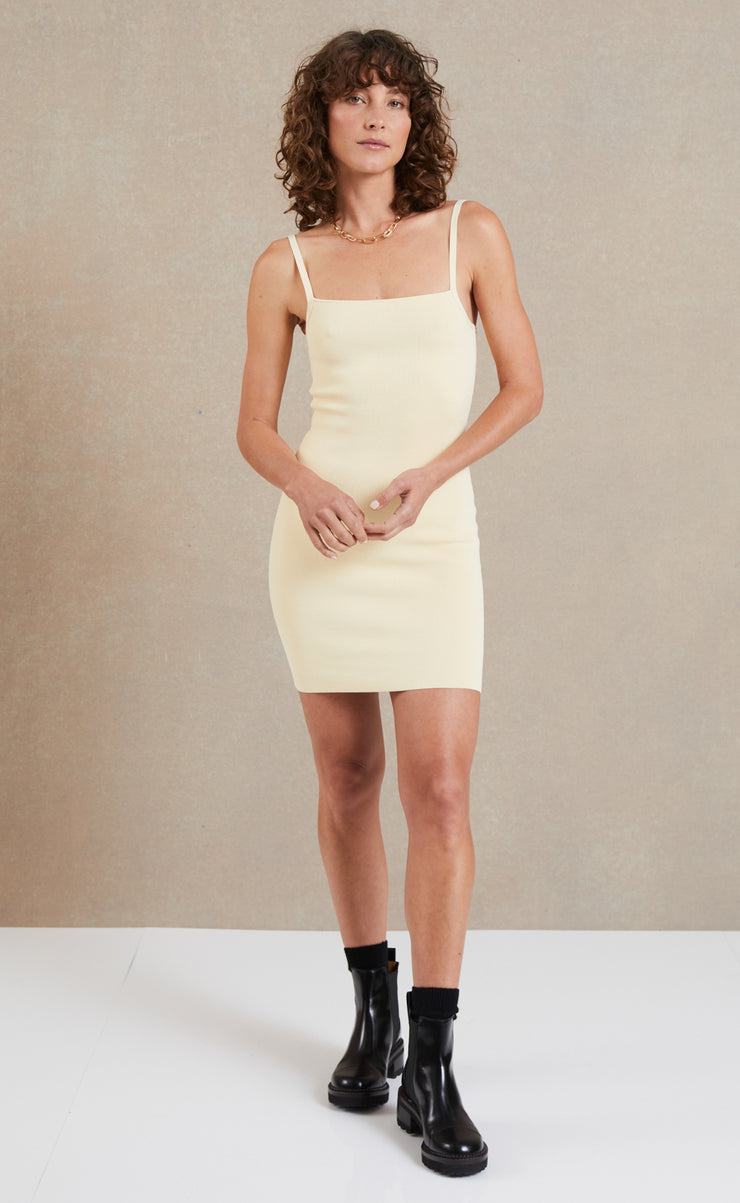 LYLA KNIT MINI DRESS - BUTTER