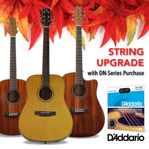 FREE UPGRADE to D'Addario EXP Phosphor Bronze strings with DN-Series guitar purchase!