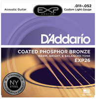 D'Addario EXP Phosphor Bronze Coated Custom Light 11-52 Guitar Strings