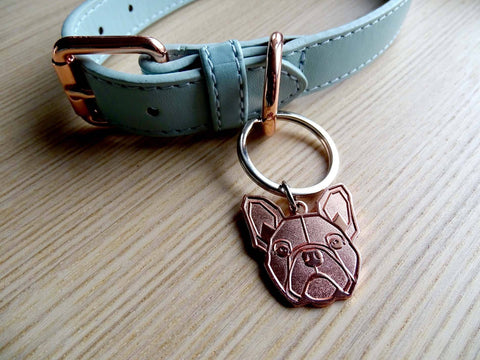 Custom Frenchie ID Tags ID Tags Custom Frenchie Store Rose Gold