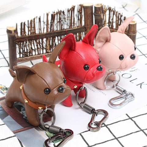 Frenchie Leather Keychain - Custom Frenchie Store