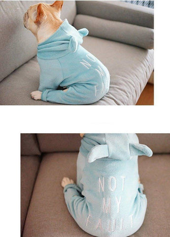 Image of Frenchie Onesie 'Not My Fault' Frenchie Clothing Custom Frenchie Store